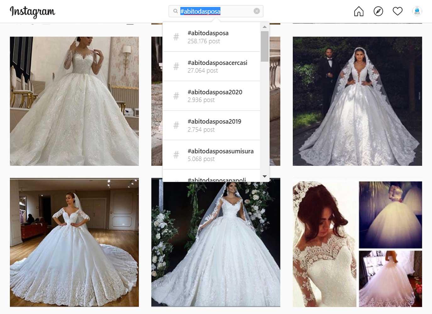 Atelier sposa e promozione su canali social come Instagram